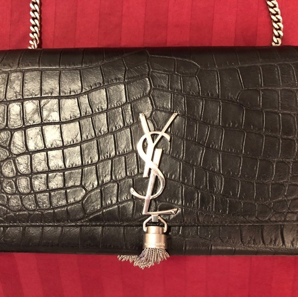 70699039c1 Monogram YSL Chain Wallet in black crocodile